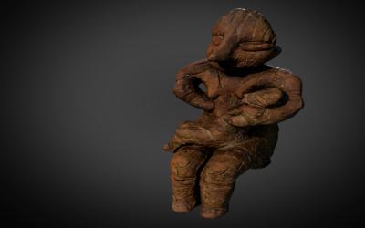 Sedeća antropomorfna figurina žene sa bebom u naručju
